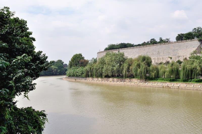 Il fossato del muro di cinta antico a Nanchino fotografia stock