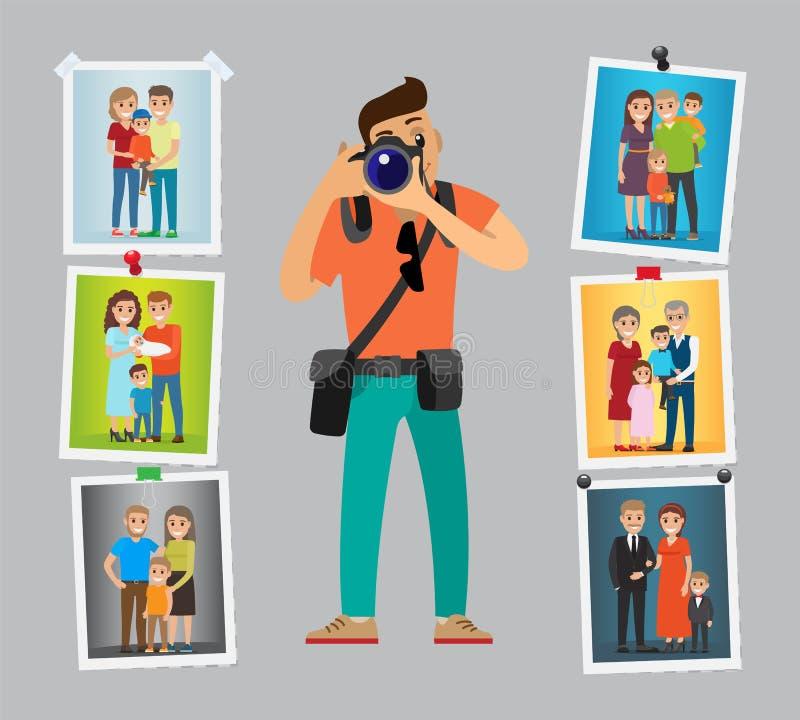 Il fotografo della famiglia con la macchina fotografica digitale prende la foto royalty illustrazione gratis