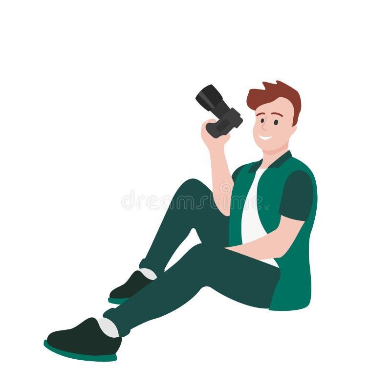 Il fotografo maschio si siede con una macchina fotografica in sua mano illustrazione di stock