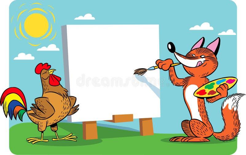 Il Fox stana un gallo illustrazione vettoriale