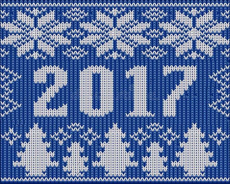 Il frammento di feste di Natale con 2017 nuovi anni ha tricottato la struttura illustrazione vettoriale