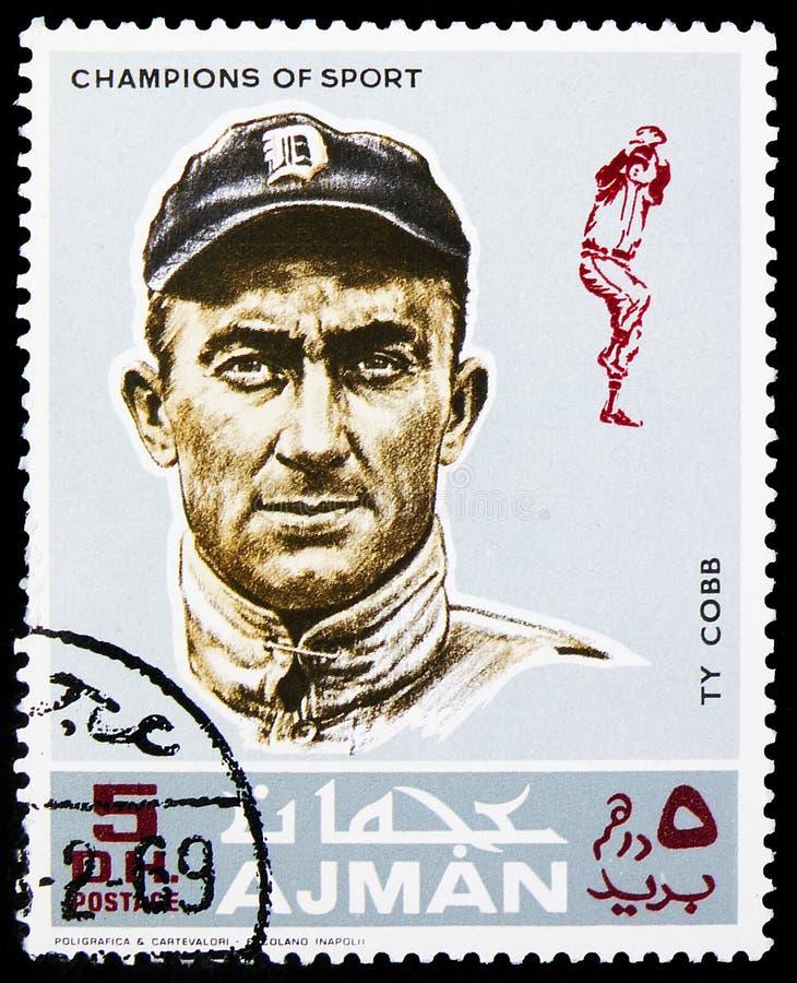 Il francobollo stampato ad Ajman (Emirati Arabi Uniti) mostra Ty Cobb (1886-1961), un esterno di baseball americano, atleti (V) - immagini stock