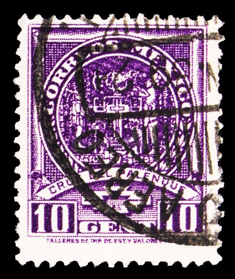 Il francobollo stampato in Messico mostra la serie Croce di Palenque, Stucco Relief, Ethnicity and History, 10 cent - Centavo mes immagini stock