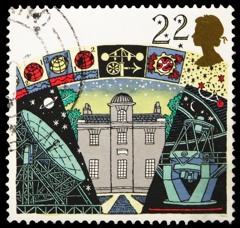 Il francobollo stampato nel Regno Unito mostra l'osservatorio dell'Armagh, serie di società astronomiche, intorno al 1990 immagine stock libera da diritti