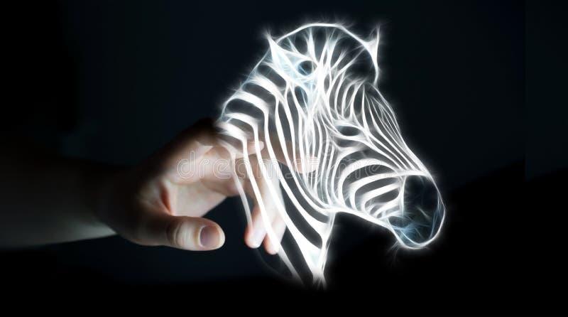 Il frattale commovente della persona ha messo in pericolo il renderi dell'illustrazione 3D della zebra illustrazione vettoriale
