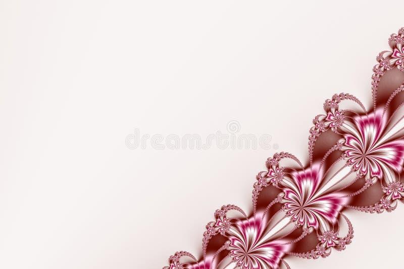 Il frattale diagonale operato del nastro in rosa, in marrone ed in bianco, somigliando fiorisce illustrazione vettoriale