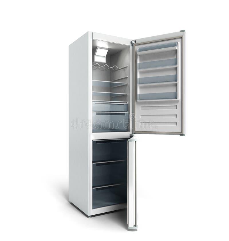 Il frigorifero moderno dell'acciaio inossidabile su 3d bianco rende illustrazione di stock