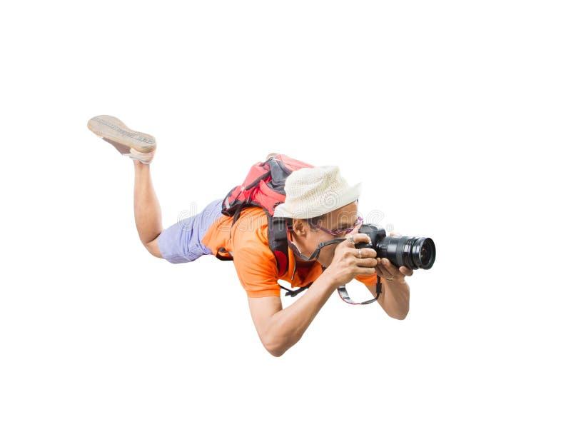 Il fronte del ritratto del giovane prende una fotografia dal flo della macchina fotografica del dslr immagini stock