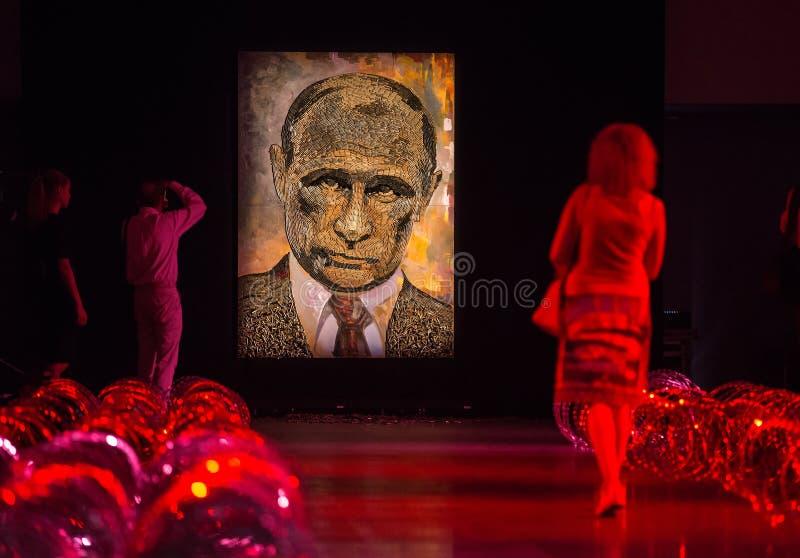 Il fronte della guerra Ritratto di Vladimir Putin fotografia stock