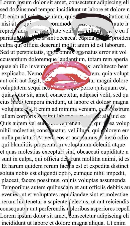 Il fronte di bellezza della ragazza con le labbra rosse sul giornale bianco gradisce mero Lin Monroe E illustrazione vettoriale