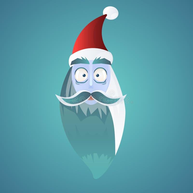 Il fronte di Santa Claus, illustrazione di Natale, ha sorpreso Santa, illustrazione di stock