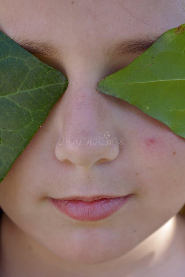 Il fronte di un angelo trattato dalle foglie verdi immagine stock libera da diritti