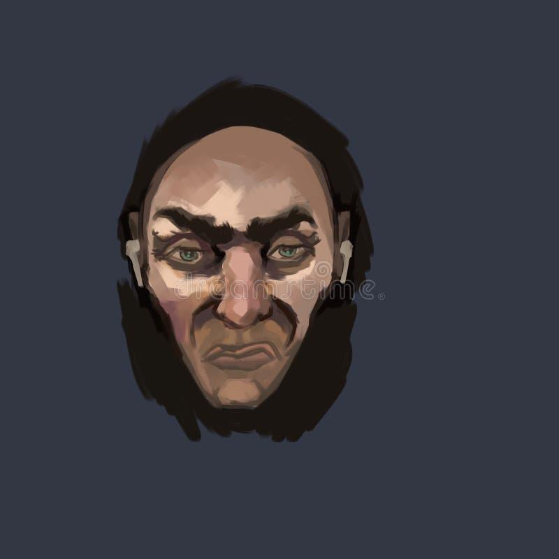 Il fronte di un uomo che è stanco royalty illustrazione gratis