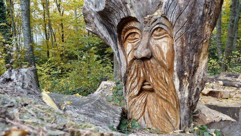 Il fronte leggiadramente di un uomo anziano scolpito da legno fotografie stock