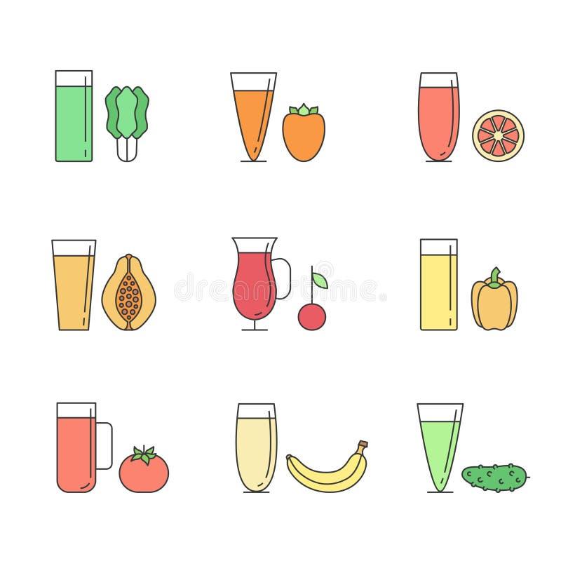 Il frullato della verdura e della frutta (succo) in vetri vector il concetto Elemento del menu per il caffè o il ristorante Bevan illustrazione vettoriale