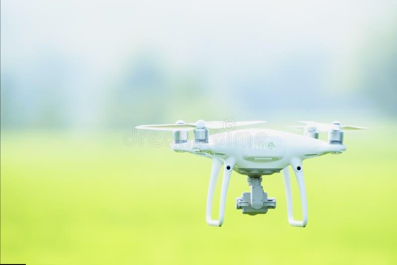 Il fuco, macchina fotografica volante prende una foto ed il video con la macchina fotografica professionale considera delle immag fotografia stock libera da diritti