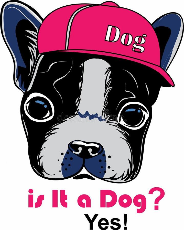 Il fumetto adorabile della testa di cane porta un cappello illustrazione vettoriale