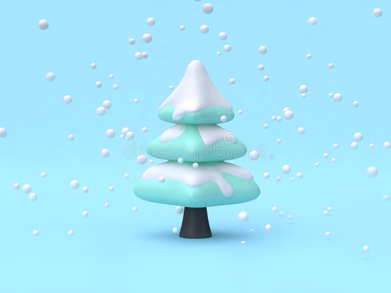 Il fumetto astratto di scena di concetto della natura dell'inverno del albero-pino disegna 3d per rendere illustrazione di stock