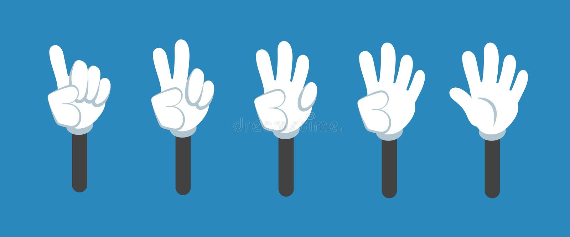 Il fumetto che conta la mano con i gesti di numero ha isolato l'insieme Conto alla rovescia con i simboli di vettore delle dita royalty illustrazione gratis