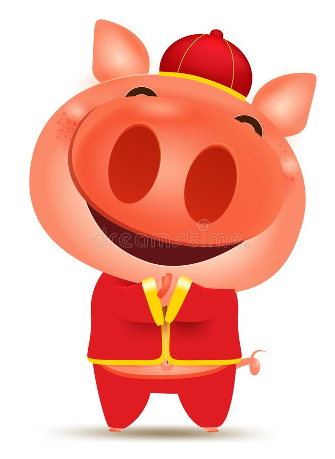 Il fumetto del maiale ha isolato gli elementi per il nuovo anno cinese felice 2019 ricco, segno del materiale illustrativo dello  illustrazione vettoriale