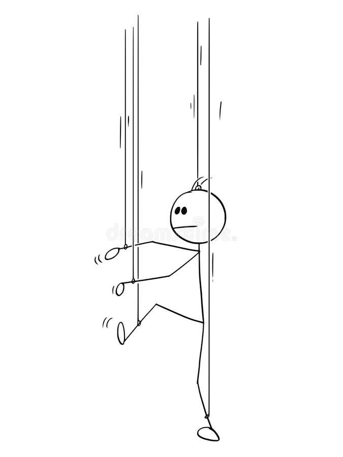 Il fumetto dell'uomo o dell'uomo d'affari come burattino senza il suoi propri  illustrazione di stock