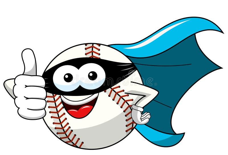 Il fumetto della mascotte del carattere della palla di baseball ha mascherato il vettore del supereroe isolato illustrazione vettoriale