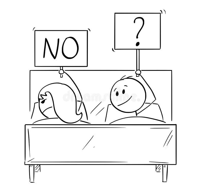 Il fumetto delle coppie a letto, uomo vuole il rapporto sessuale, donna sta rifiutando illustrazione vettoriale