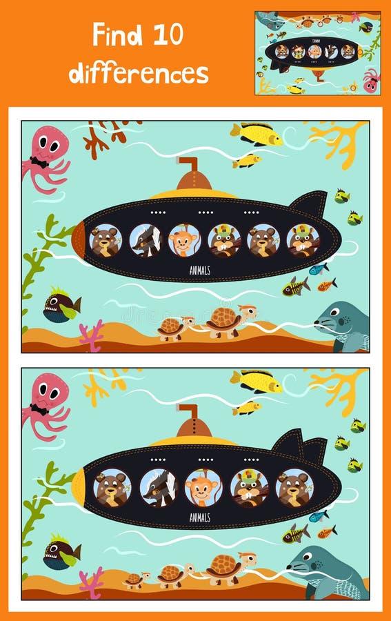 Il fumetto di istruzione per trovare 10 differenze in sottomarino delle immagini dei bambini galleggia con gli animali fra i pesc royalty illustrazione gratis