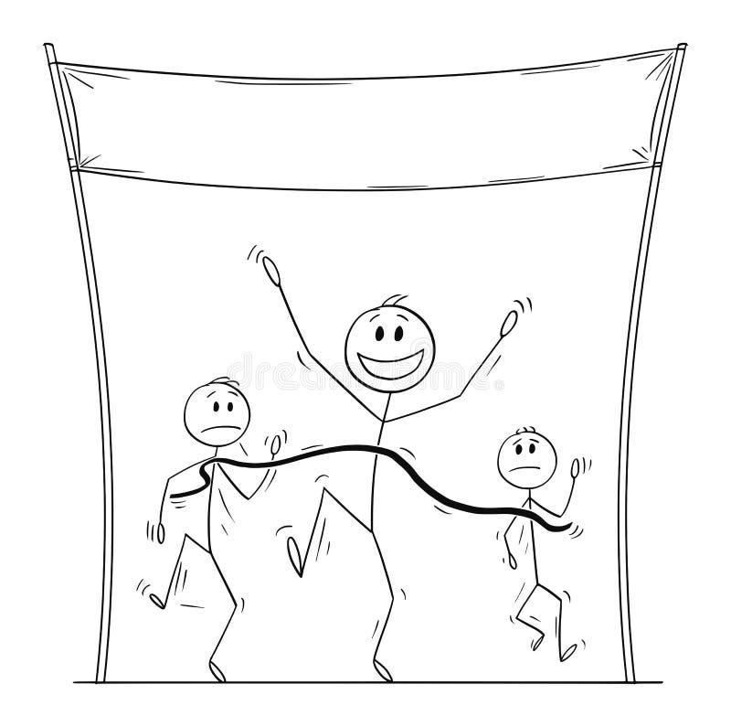 Il fumetto di vettore dell'uomo vittorioso o dell'atleta Who è in primo luogo sull'arrivo nel funzionamento o nella corsa illustrazione di stock