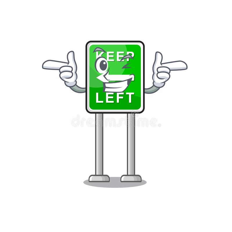 Il fumetto di Wink Keep left ha isolato la mascotte illustrazione di stock