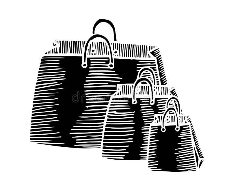 Il fumetto disegnato a mano in bianco e nero, sacchetti della spesa di stile di scarabocchio progetta royalty illustrazione gratis