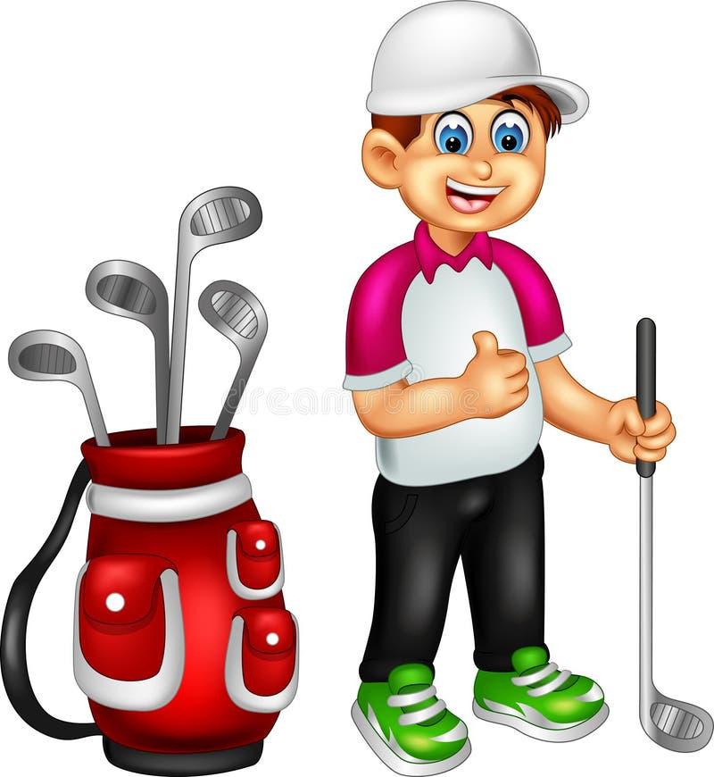 Il fumetto divertente del giocatore di golf che sta con sorridere e porta il bastone royalty illustrazione gratis