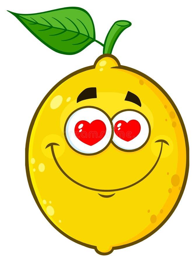 Il fumetto giallo amoroso Emoji della frutta del limone affronta il carattere con gli occhi dei cuori illustrazione di stock