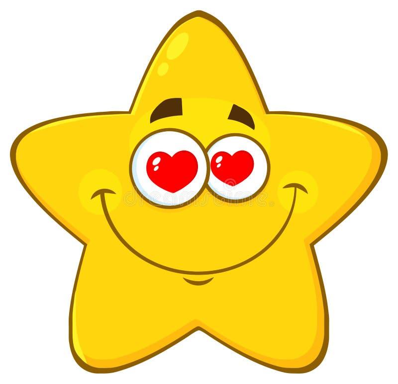 Il fumetto giallo amoroso Emoji della stella affronta il carattere con gli occhi dei cuori illustrazione vettoriale