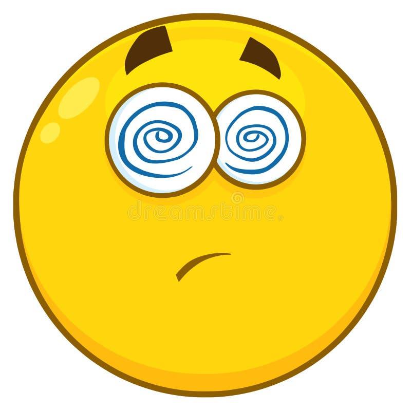 Il fumetto giallo Emoji affronta il carattere con l'espressione ipnotizzata e la lingua di sporgenza illustrazione vettoriale