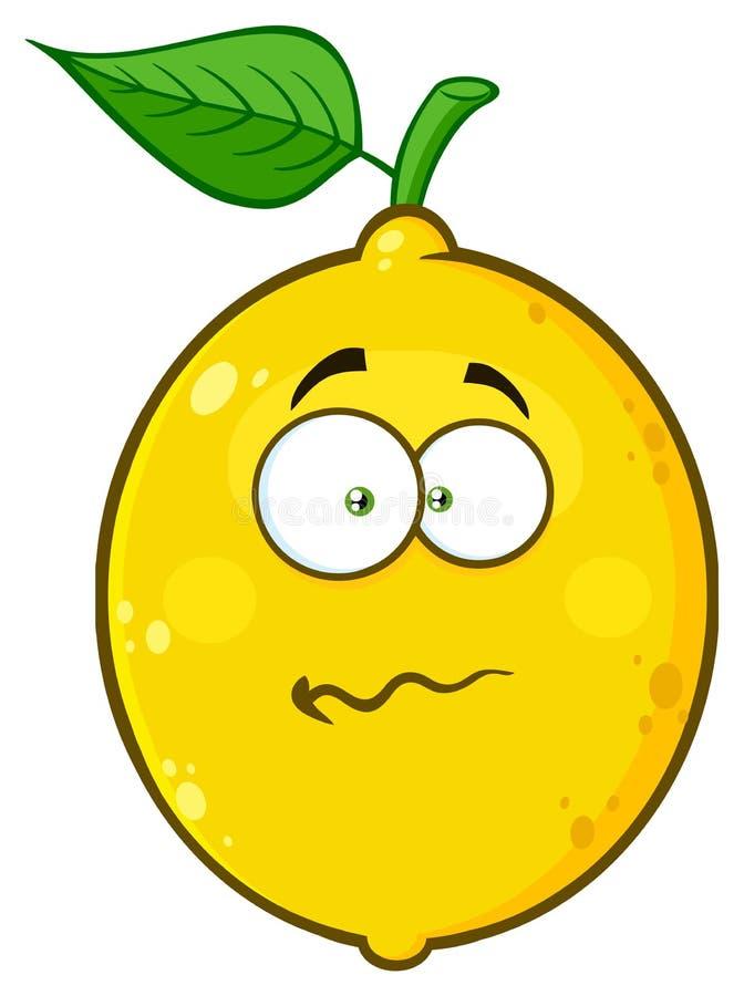 Il fumetto giallo nervoso Emoji della frutta del limone affronta il carattere con l'espressione confusa royalty illustrazione gratis