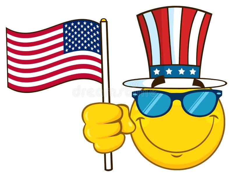 Il fumetto giallo sorridente Emoji affronta il carattere con gli occhiali da sole che indossano un cilindro e l'ondeggiamento del