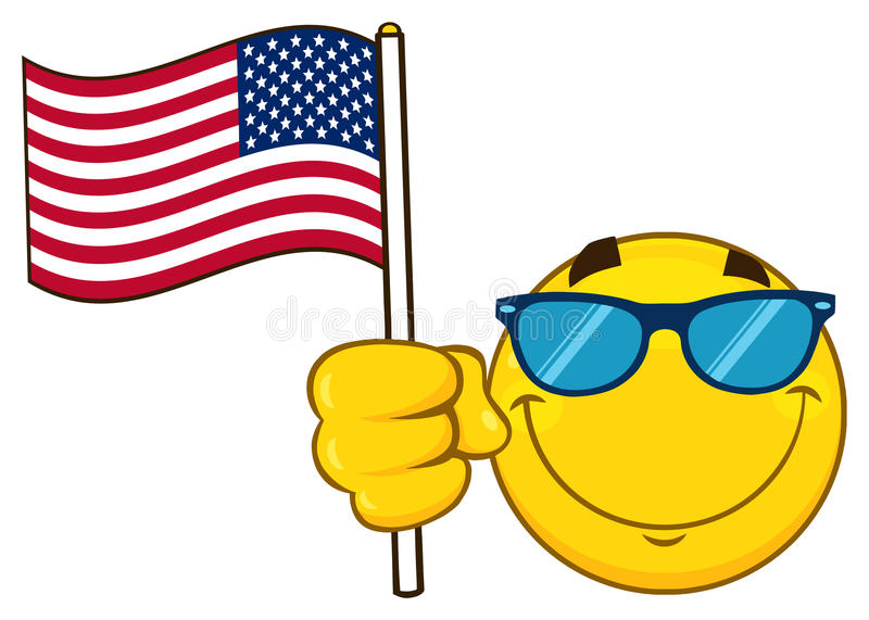Il fumetto giallo sorridente Emoji affronta il carattere con gli occhiali da sole che ondeggiano una bandiera americana