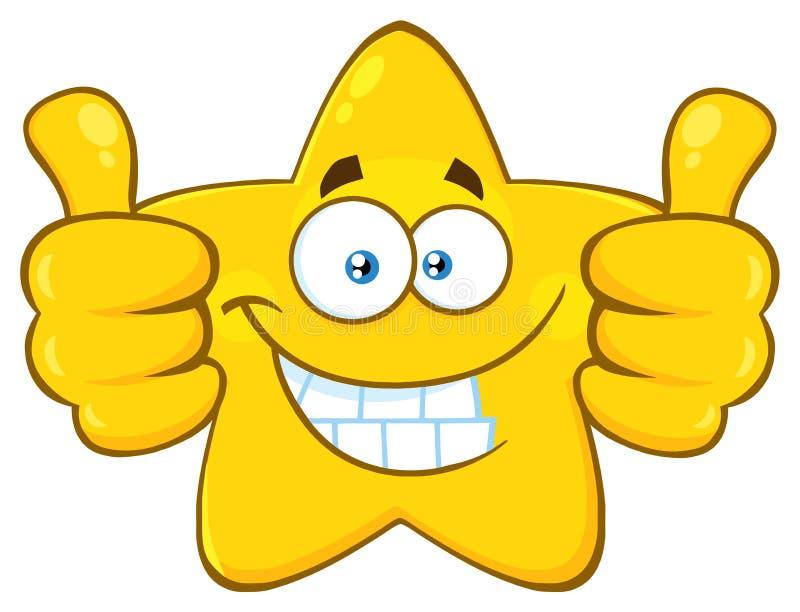 Il fumetto giallo sorridente Emoji della stella affronta il carattere che dà due pollici su royalty illustrazione gratis