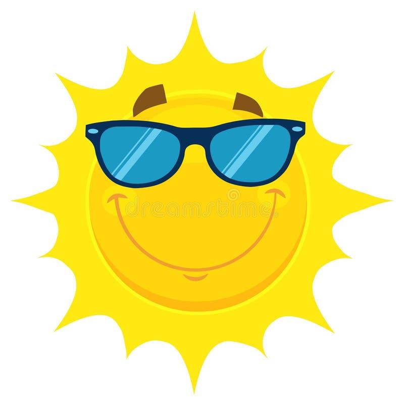 Il fumetto giallo sorridente Emoji di Sun affronta il carattere con gli occhiali da sole illustrazione vettoriale