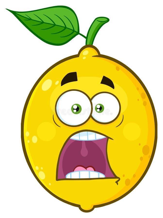Il fumetto giallo spaventato Emoji della frutta del limone affronta il carattere con le espressioni un panico illustrazione di stock