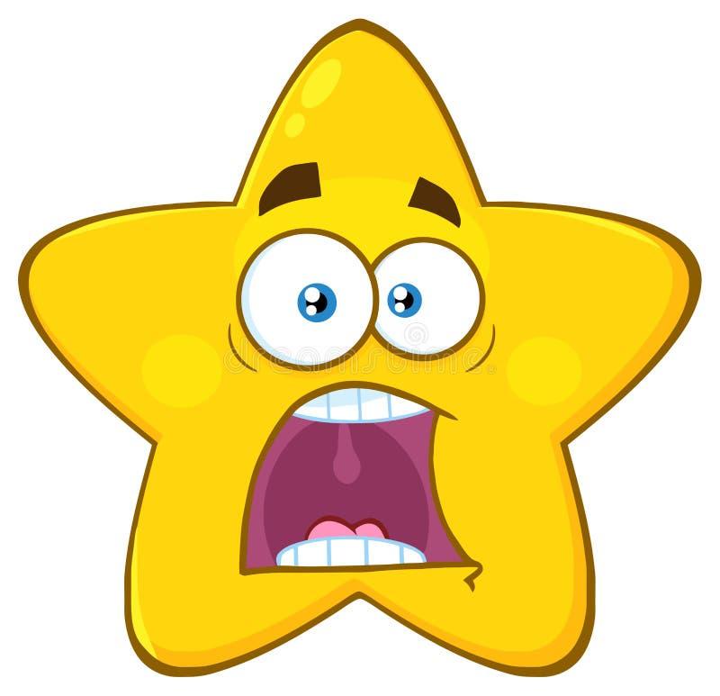 Il fumetto giallo spaventato Emoji della stella affronta il carattere con le espressioni un panico royalty illustrazione gratis