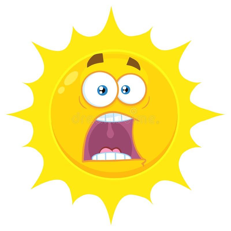 Il fumetto giallo spaventato Emoji di Sun affronta il carattere con le espressioni un panico illustrazione di stock