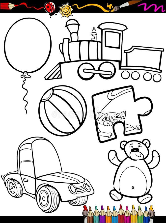 Il fumetto gioca gli oggetti che colorano la pagina illustrazione vettoriale