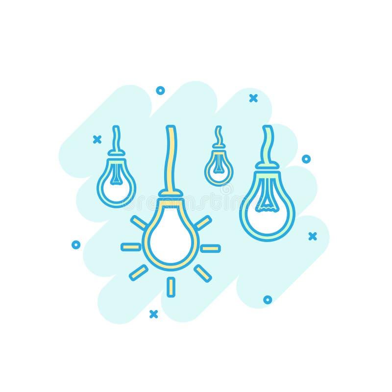 Il fumetto ha colorato l'icona della lampadina nello stile comico Segno i di idea della lampadina illustrazione vettoriale