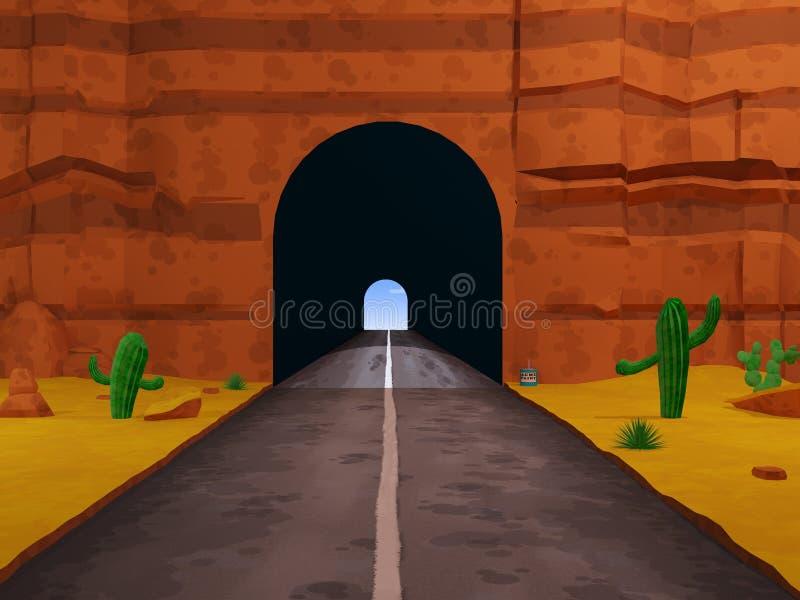 Il fumetto ha dipinto il fondo del bavaglio del tunnel - illustrazione 3D illustrazione vettoriale