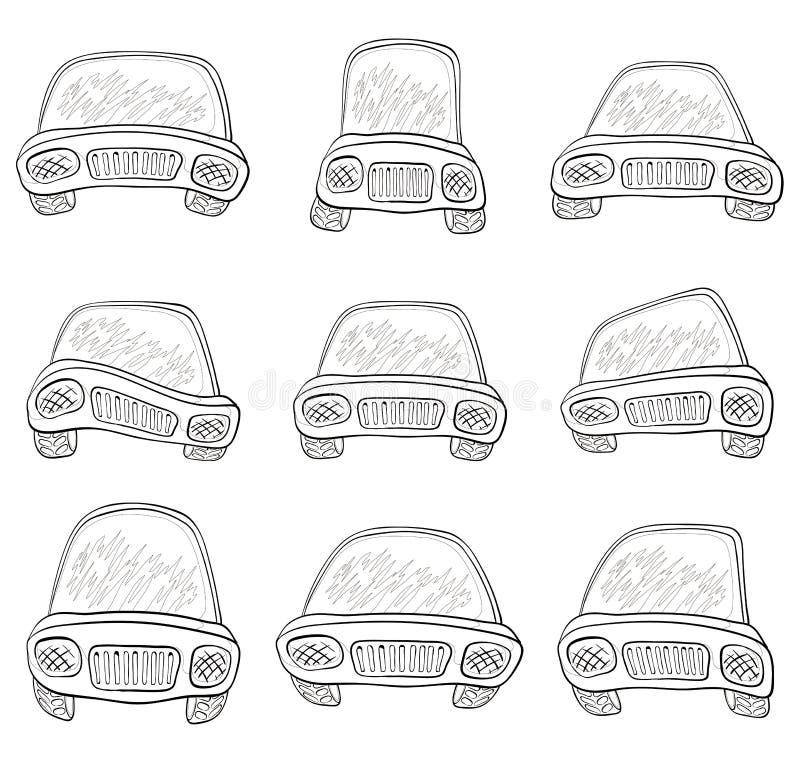 Il fumetto, ha messo le automobili, contorni illustrazione di stock