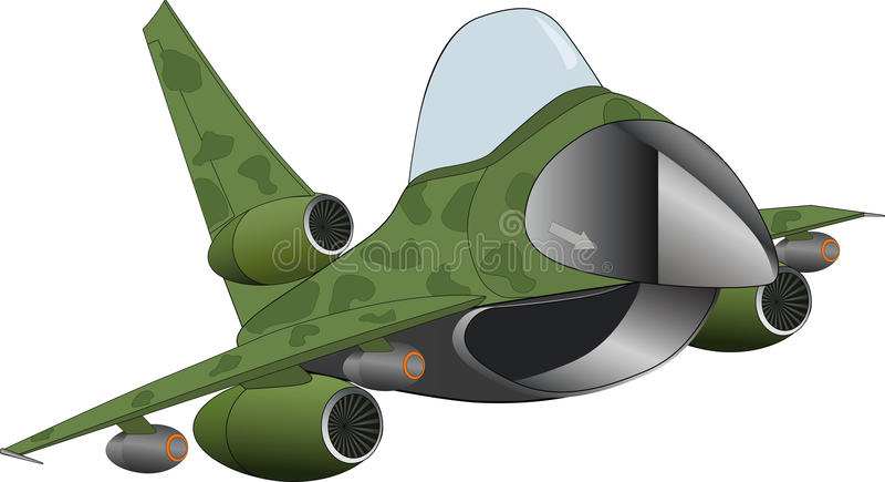 Il fumetto militare moderno dell'aeroplano del jet illustrazione di stock