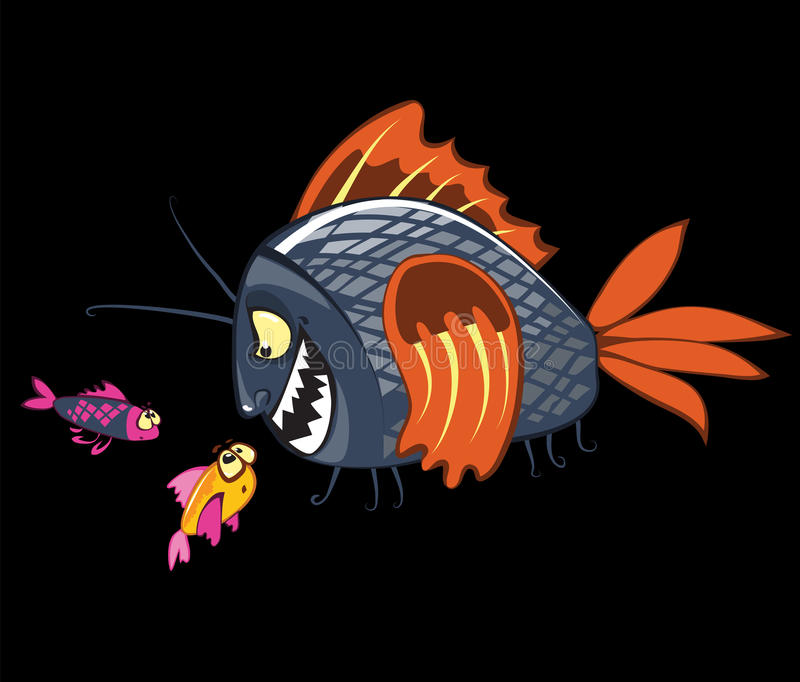 Il fumetto pesca i caratteri illustrazione vettoriale