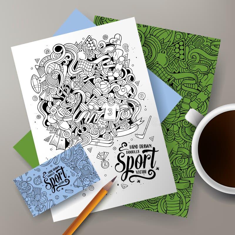 Il fumetto scarabocchia l'insieme di identità corporativa di sport illustrazione di stock